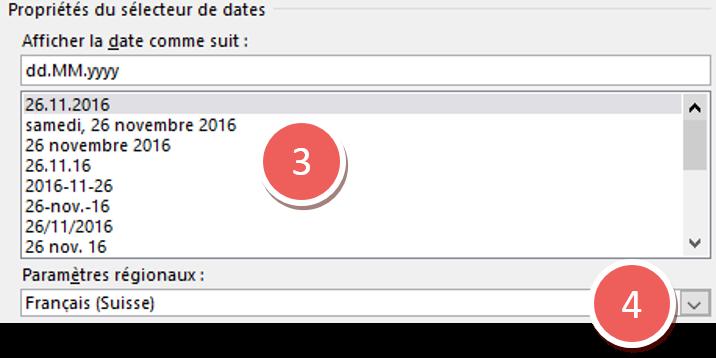 Boîte de dialogue du navigateur de dates