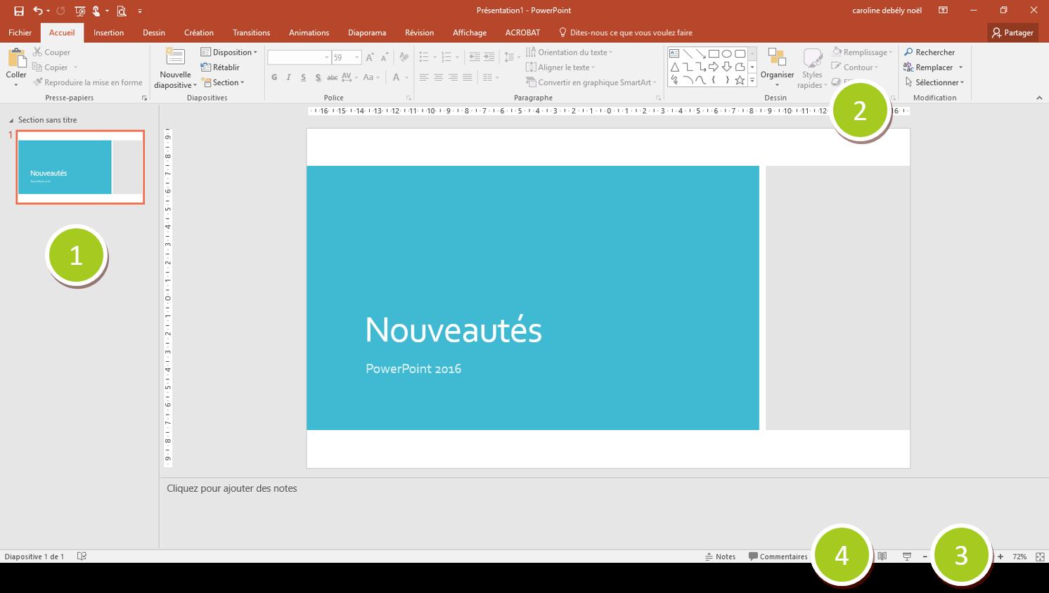 Ecran PowerPoint 2016