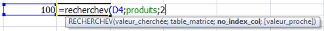 Structure d'une fonction Excel